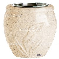 Flowers pot Calla 19cm - 7,5in In Calizia marble, steel inner