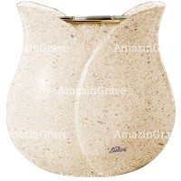 Flowers pot Tulipano 19cm - 7,5in In Calizia marble, golden steel inner