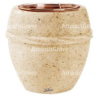 Flowers pot Chordè 19cm - 7,5in In Calizia marble, copper inner