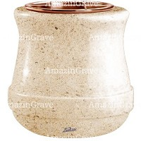 Flowers pot Calyx 19cm - 7,5in In Calizia marble, copper inner
