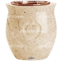 Flowers pot Cuore 19cm - 7,5in In Calizia marble, copper inner