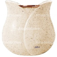 Flowers pot Tulipano 19cm - 7,5in In Calizia marble, copper inner