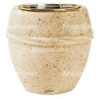Flowers pot Chordè 19cm - 7,5in In Calizia marble, golden steel inner