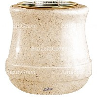 Flowers pot Calyx 19cm - 7,5in In Calizia marble, golden steel inner