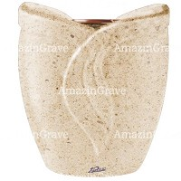 Flowers pot Gres 19cm - 7,5in In Calizia marble, copper inner