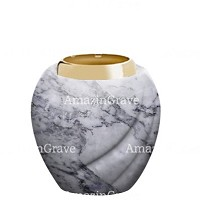 Base for grave lamp Soave 10cm - 4in In Carrara marble, with golden steel ferrule