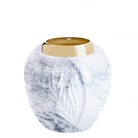 Base for grave lamp Spiga 10cm - 4in In Carrara marble, with golden steel ferrule