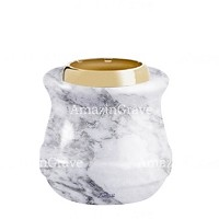 Base for grave lamp Calyx 10cm - 4in In Carrara marble, with golden steel ferrule