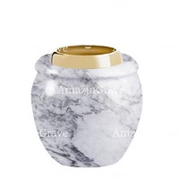Base for grave lamp Amphòra 10cm - 4in In Carrara marble, with golden steel ferrule