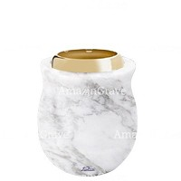 Base for grave lamp Gondola 10cm - 4in In Carrara marble, with golden steel ferrule