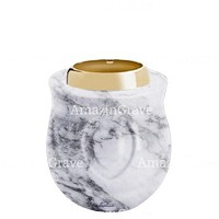 Base for grave lamp Cuore 10cm - 4in In Carrara marble, with golden steel ferrule