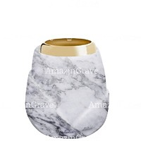 Base for grave lamp Liberti 10cm - 4in In Carrara marble, with golden steel ferrule