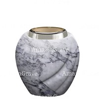 Base for grave lamp Soave 10cm - 4in In Carrara marble, with steel ferrule