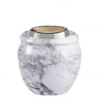 Base for grave lamp Amphòra 10cm - 4in In Carrara marble, with steel ferrule