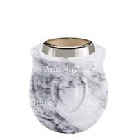 Base for grave lamp Cuore 10cm - 4in In Carrara marble, with steel ferrule