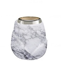 Base for grave lamp Liberti 10cm - 4in In Carrara marble, with steel ferrule