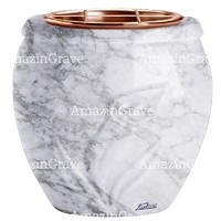 Flowers pot Calla 19cm - 7,5in In Carrara marble, copper inner