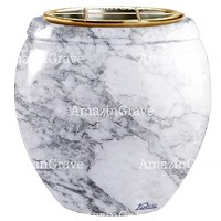 Flowers pot Amphòra 19cm - 7,5in In Carrara marble, golden steel inner