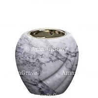 Base for grave lamp Soave 10cm - 4in In Carrara marble, with recessed nickel plated ferrule