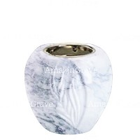 Base for grave lamp Spiga 10cm - 4in In Carrara marble, with recessed nickel plated ferrule