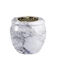 Base for grave lamp Amphòra 10cm - 4in In Carrara marble, with recessed nickel plated ferrule