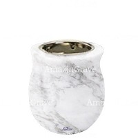 Base for grave lamp Gondola 10cm - 4in In Carrara marble, with recessed nickel plated ferrule