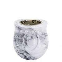 Base for grave lamp Cuore 10cm - 4in In Carrara marble, with recessed nickel plated ferrule