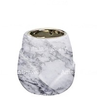 Base for grave lamp Liberti 10cm - 4in In Carrara marble, with recessed nickel plated ferrule