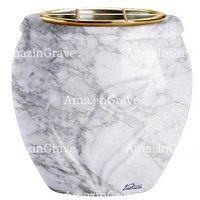 Flowers pot Calla 19cm - 7,5in In Carrara marble, golden steel inner