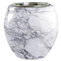 Flowers pot Amphòra 19cm - 7,5in In Carrara marble, steel inner