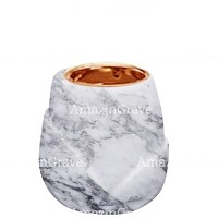 Base for grave lamp Liberti 10cm - 4in In Carrara marble, with recessed copper ferrule