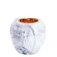 Base for grave lamp Spiga 10cm - 4in In Carrara marble, with recessed copper ferrule