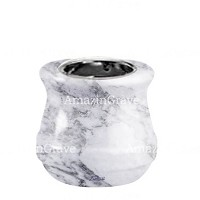 Base for grave lamp Calyx 10cm - 4in In Carrara marble, with recessed nickel plated ferrule