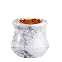 Base for grave lamp Calyx 10cm - 4in In Carrara marble, with recessed copper ferrule