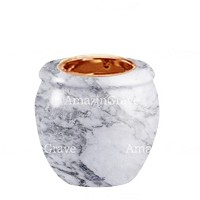 Base for grave lamp Amphòra 10cm - 4in In Carrara marble, with recessed copper ferrule