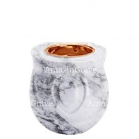 Base for grave lamp Cuore 10cm - 4in In Carrara marble, with recessed copper ferrule
