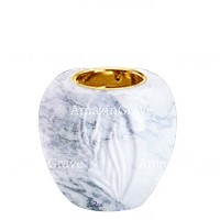 Base for grave lamp Spiga 10cm - 4in In Carrara marble, with recessed golden ferrule