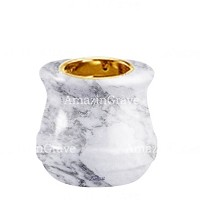 Base for grave lamp Calyx 10cm - 4in In Carrara marble, with recessed golden ferrule