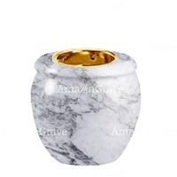 Base for grave lamp Amphòra 10cm - 4in In Carrara marble, with recessed golden ferrule