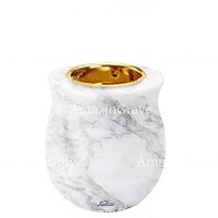 Base for grave lamp Gondola 10cm - 4in In Carrara marble, with recessed golden ferrule