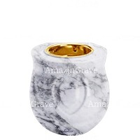Base for grave lamp Cuore 10cm - 4in In Carrara marble, with recessed golden ferrule