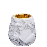 Base for grave lamp Liberti 10cm - 4in In Carrara marble, with recessed golden ferrule