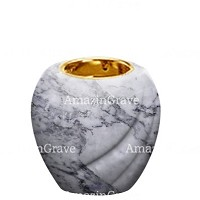 Base for grave lamp Soave 10cm - 4in In Carrara marble, with recessed golden ferrule