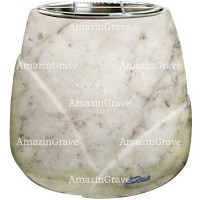 Flowers pot Liberti 19cm - 7,5in In Carrara marble, steel inner