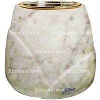 Flowers pot Liberti 19cm - 7,5in In Carrara marble, golden steel inner