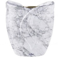 Flowers pot Gres 19cm - 7,5in In Carrara marble, golden steel inner