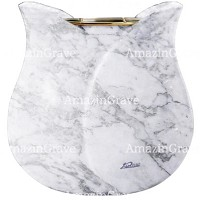 Flowers pot Tulipano 19cm - 7,5in In Carrara marble, golden steel inner
