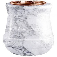 Flowers pot Calyx 19cm - 7,5in In Carrara marble, copper inner