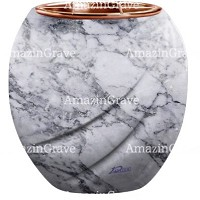 Flowers pot Soave 19cm - 7,5in In Carrara marble, copper inner