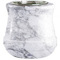 Flowers pot Calyx 19cm - 7,5in In Carrara marble, steel inner